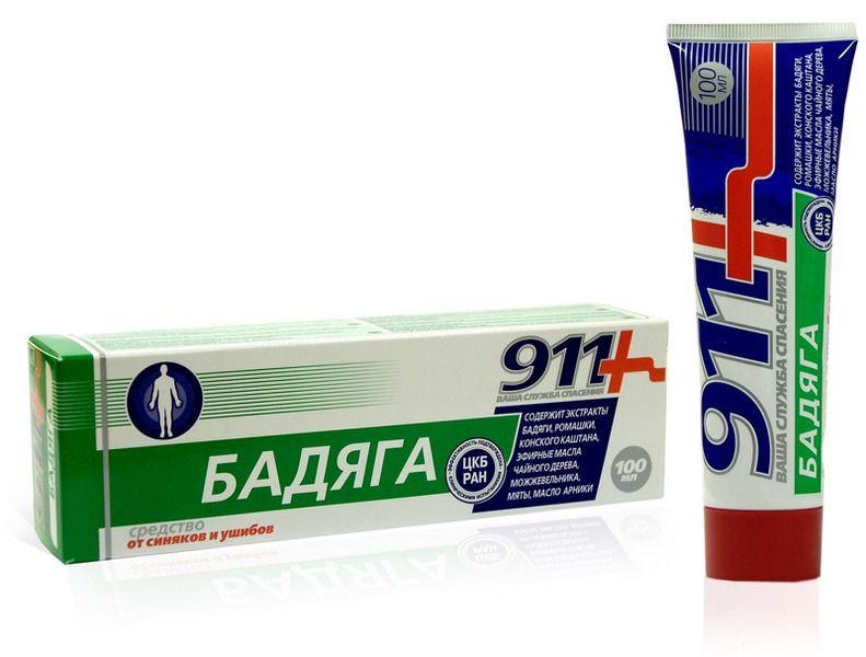 Применение геля Бадяга 911 от синяков и ушибов