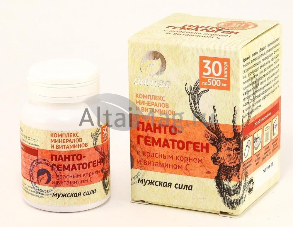 Купить Пантогематоген с красным корнем и витамином С «Мужская сила», 30 капсул в Москве